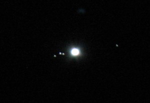 jupiter and the four Gallilean moons